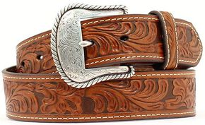 Floral Embossed Leather Belt, Tan, hi-res