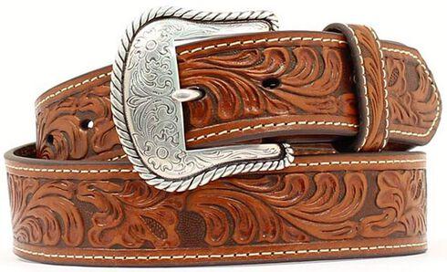 Floral Embossed Leather Belt, Tan, hi-res