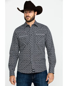 Rock 47 By Wrangler Men's Black Geo Print Long Sleeve Western Shirt , Black, hi-res
