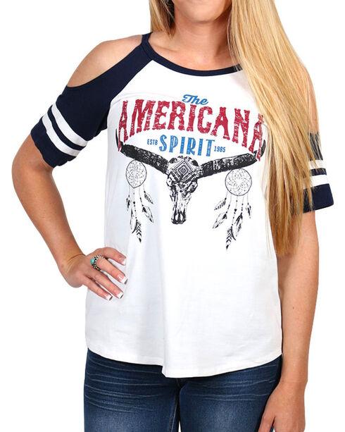 Moa Moa Women's American Spirit Cold Shoulder Top, Cream, hi-res
