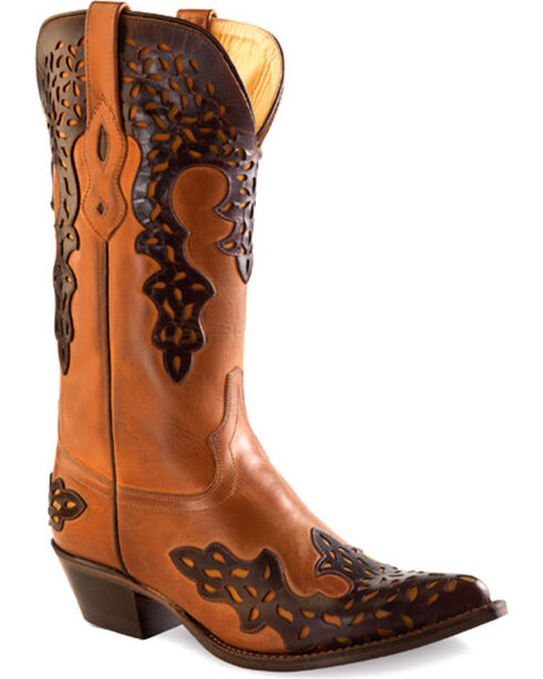 Old West Women's Brown Overlay Leather Western Boots - Pointed Toe , Brown, hi-res