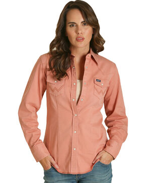 Wrangler Women's Rose Snap Down Western Top , Mauve, hi-res