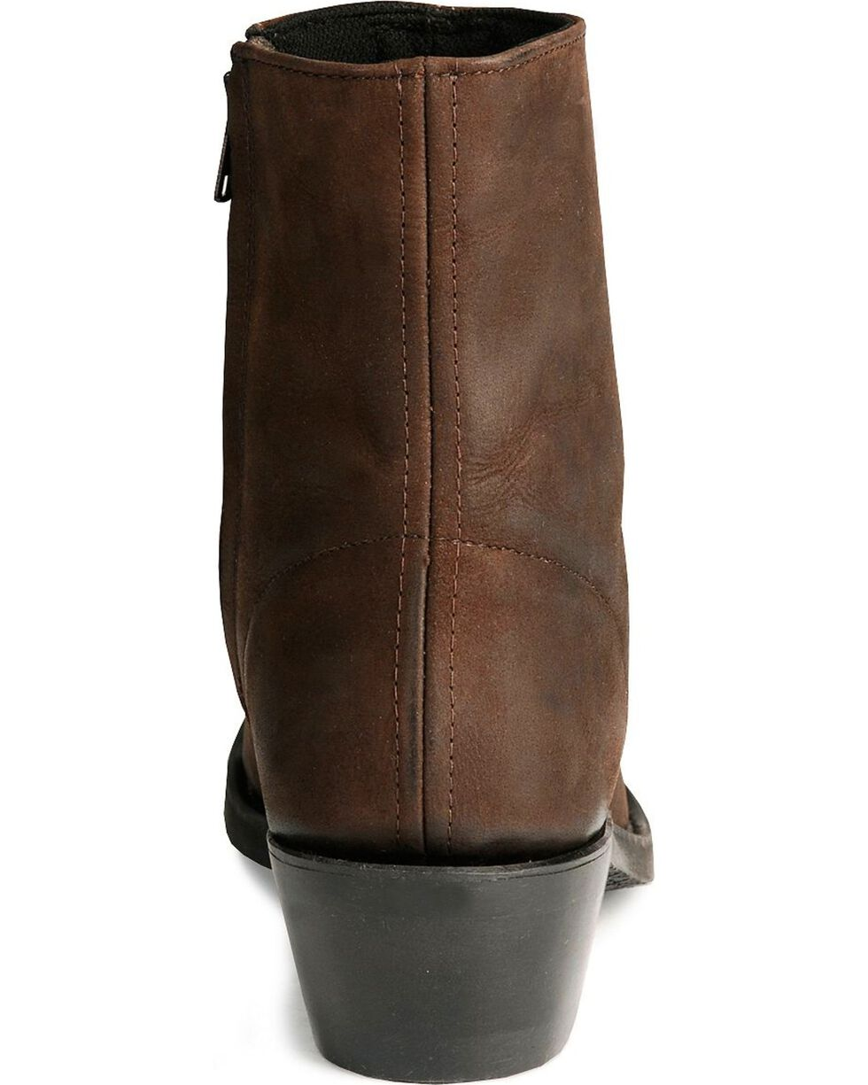 Old West Zipper Western Ankle Boots, Distressed, hi-res