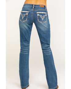 Shyanne Women's Medium Wash Faux Flap Bling Bootcut Jeans, Blue, hi-res