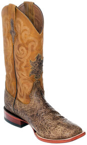 Ferrini Men's Tan Elephant Print Western Boots - Square Toe , Tan, hi-res