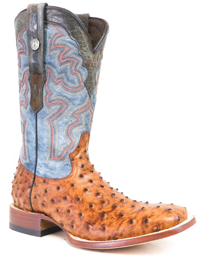 Tanner Mark Men's Cognac Ostrich Print Western Boots - Wide Square Toe, Cognac, hi-res