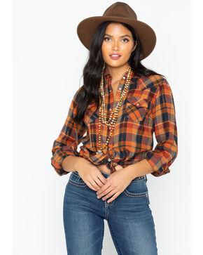 Wrangler Women's Lurex Plaid Long Sleeve Western Shirt , Gold, hi-res