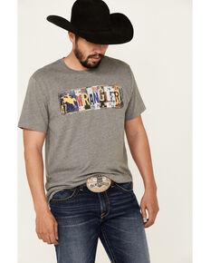 Wrangler Men's License Plate Logo Graphic Short Sleeve T-Shirt , Grey, hi-res