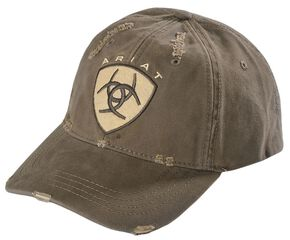 Ariat Distressed Logo Patch Cap, Brown, hi-res