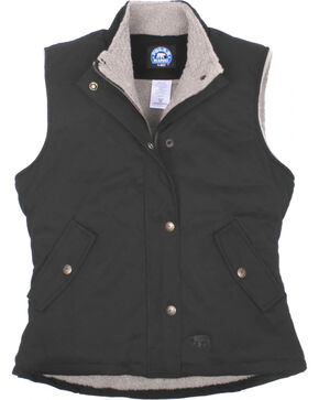 Key Women's Black Sherpa Lined Twill Vest, Black, hi-res