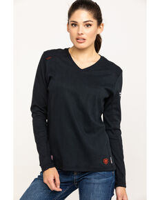 Ariat Women's Black FR Ac Long Sleeve Work Top, Black, hi-res