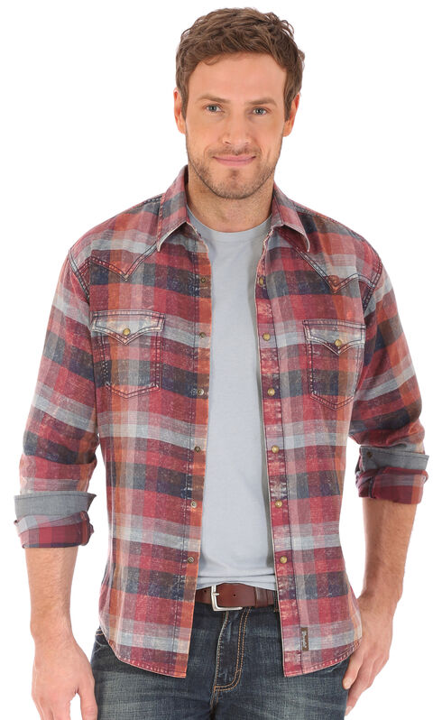Wrangler Retro Men's Long Sleeve Two Needle Topstitch Shirt, Russet, hi-res