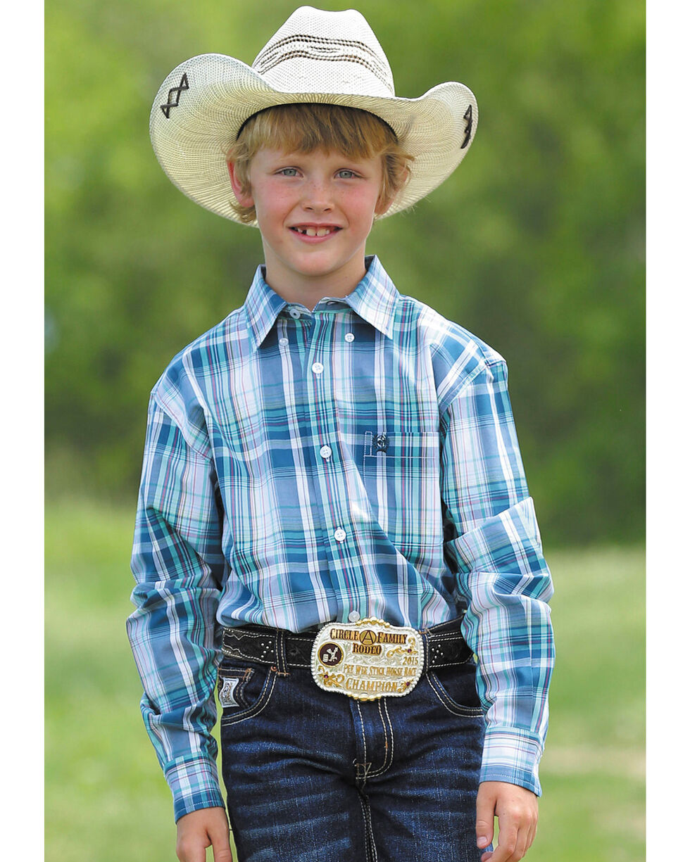 Cinch Boys' Blue Match Dad Large Plaid Western Shirt , White, hi-res