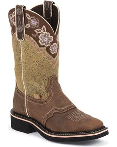 Justin Gypsy Floral Embroidered Cowgirl Boots - Square Toe, Barnwood, hi-res