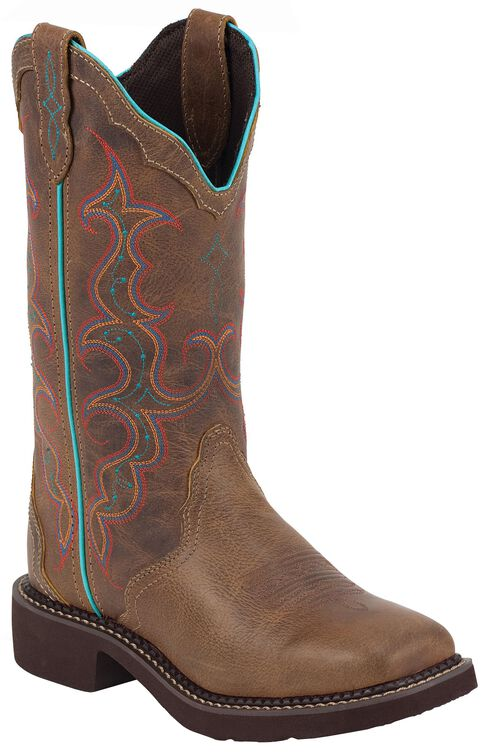 Justin Gypsy Vibrant Embroidered Cowgirl Boots - Square Toe, Tan, hi-res