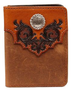 Nocona Embossed Leather Overlay with Concho Bi-Fold Wallet, Med Brown, hi-res