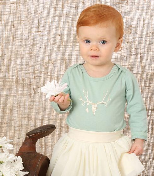Wrangler Infant Girls' Green Screenprint Long Sleeve Bodysuit, Green, hi-res