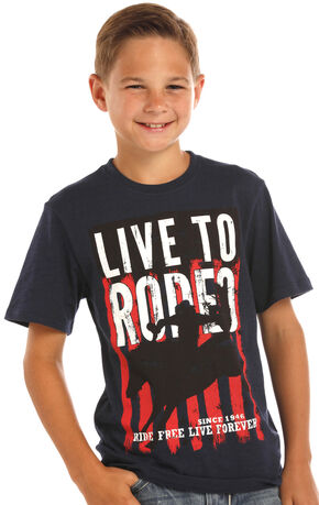 Rock & Roll Cowboy Boys' Black Graphic Rodeo Tee, Black, hi-res