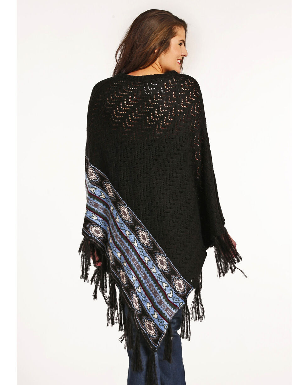 Powder River Outfitters Women's Chevron Knit Stitch Poncho, Black, hi-res