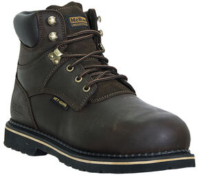 McRae Men's Steel Toe Internal Met Guard Lace Up Work Boots, Dark Brown, hi-res