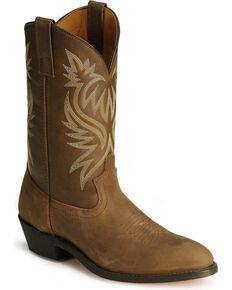 Laredo Men's Basic Cowboy Boots, Tan Distressed, hi-res
