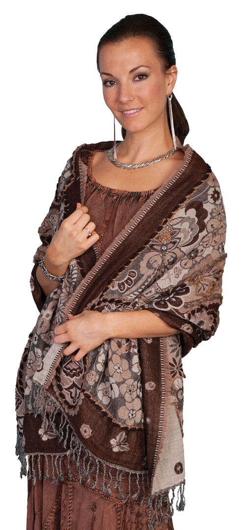 Scully Women's Floral Wool Wrap Shawl, Brown, hi-res