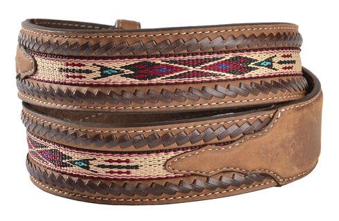 Silver Creek Men's Woven Leather Lace Belt, Bark, hi-res
