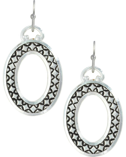 Montana Silversmiths Women's Simply Stitched Oval Earrings , Silver, hi-res