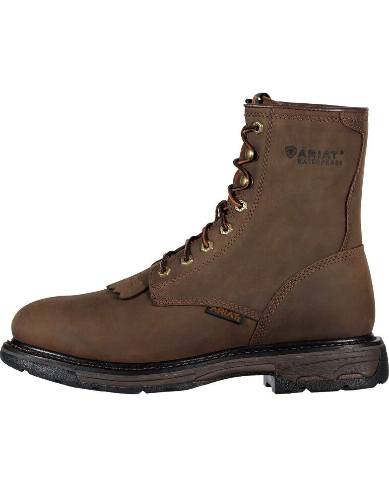 """Ariat WorkHog H2O 8"""" Lace-Up Work Boots - Round Toe, Distressed, hi-res"""
