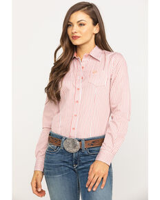 e0924d59 Cinch Womens Coral Stripe Button Long Sleeve Western Shirt, Coral, hi-res