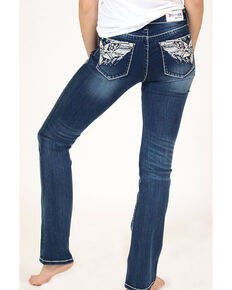 Grace in LA Women's Medium Flower Wing Straight Jeans - Plus, Blue, hi-res
