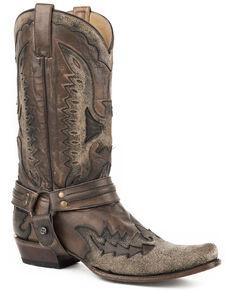 Stetson Men's Black Outlaw Eagle Western Boots - Snip Toe, Black, hi-res