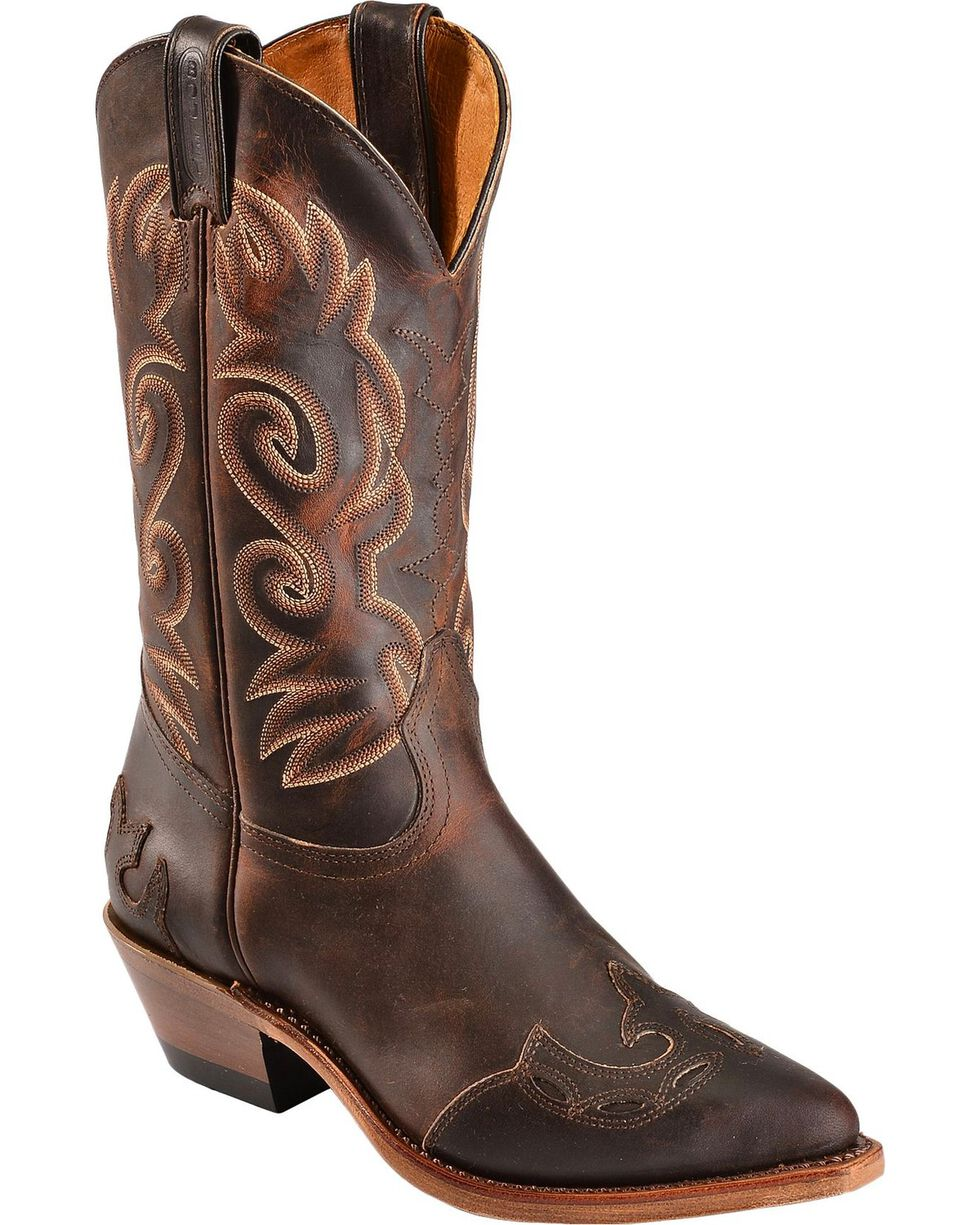 Boulet Fancy Cutout Cowgirl Boots - Pointed Toe, Copper, hi-res
