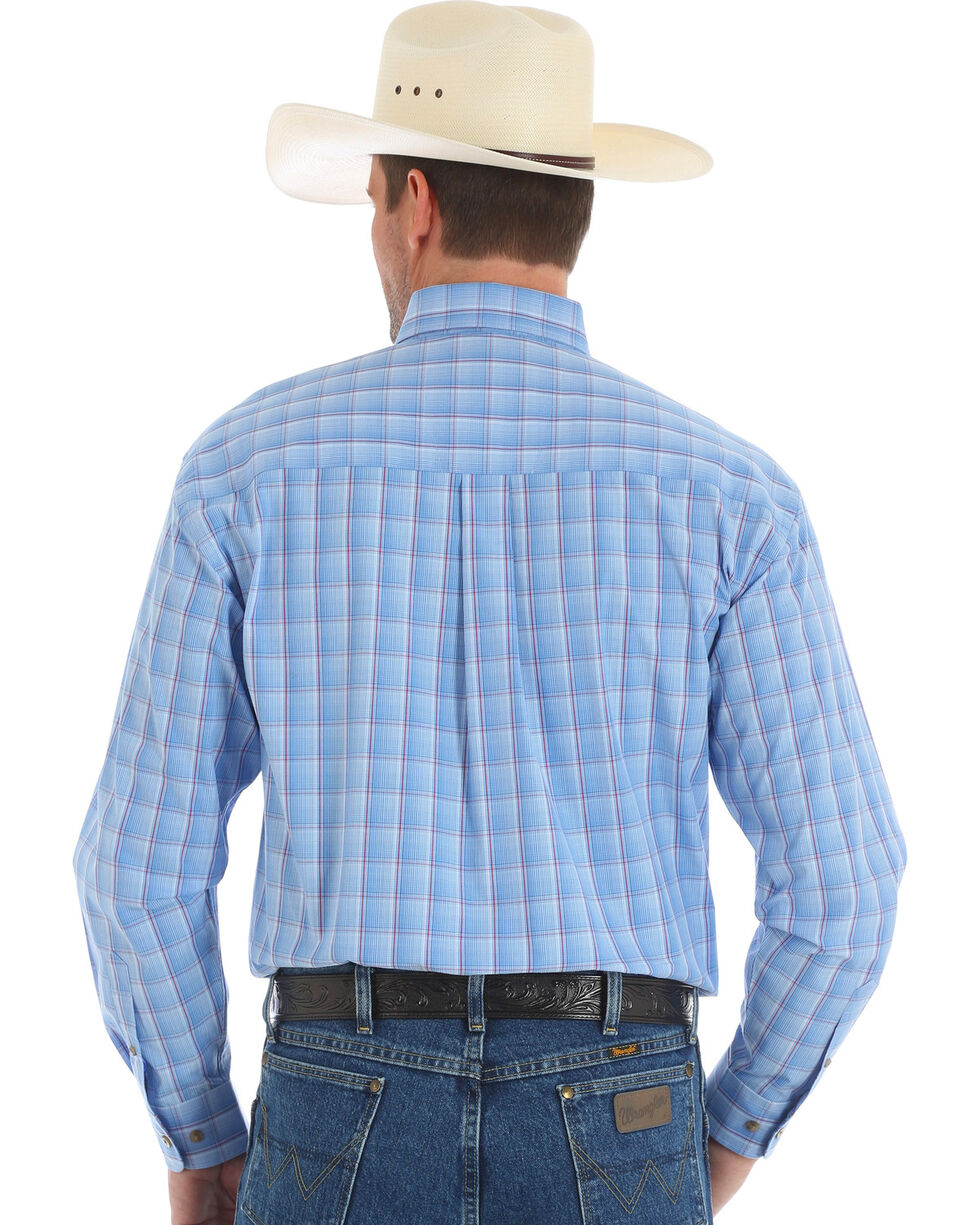 Wrangler George Strait Men's Blue Long Sleeve Shirt , Blue, hi-res