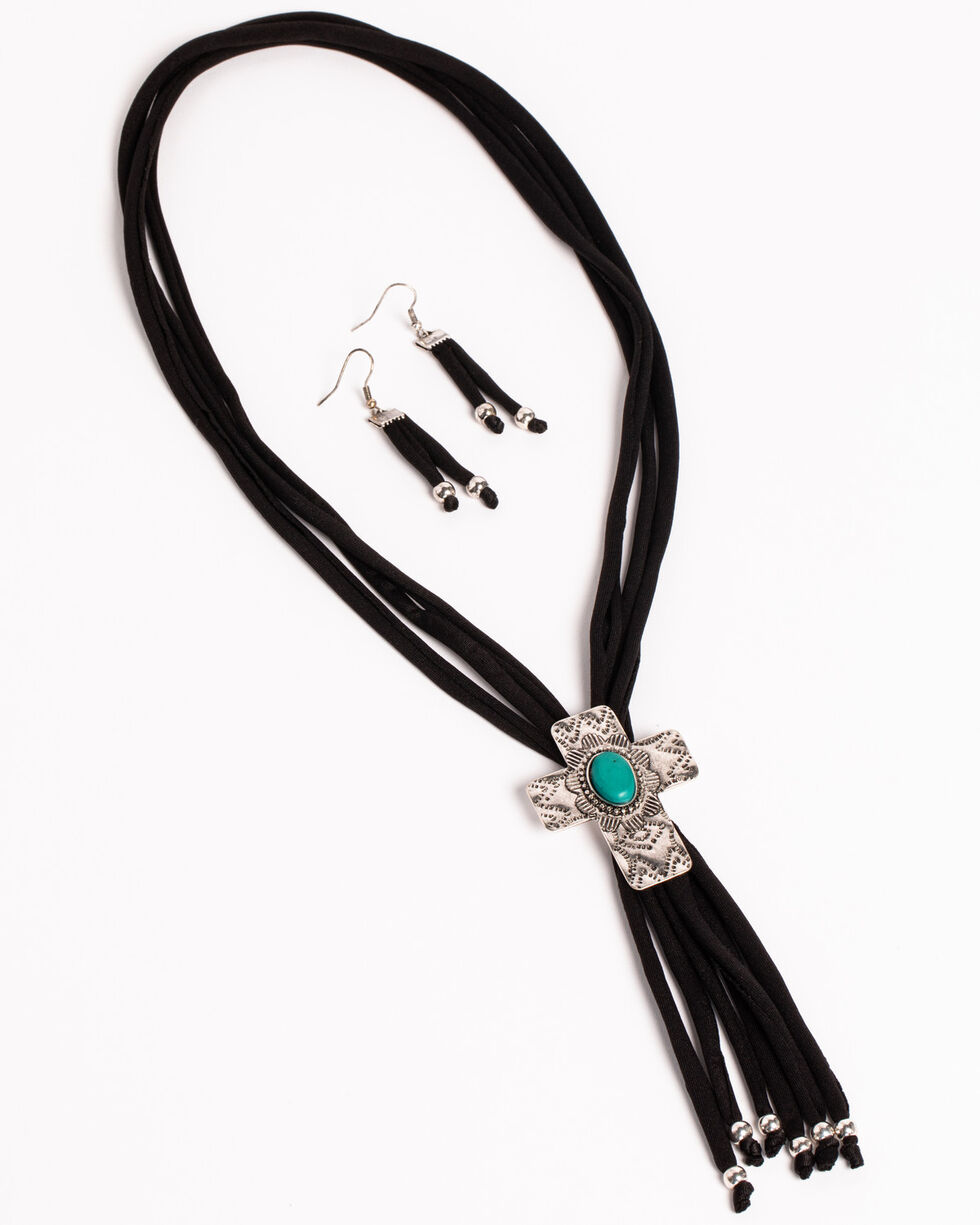 Shyanne Women's Black Corded Cross Jewelry Set, Black, hi-res