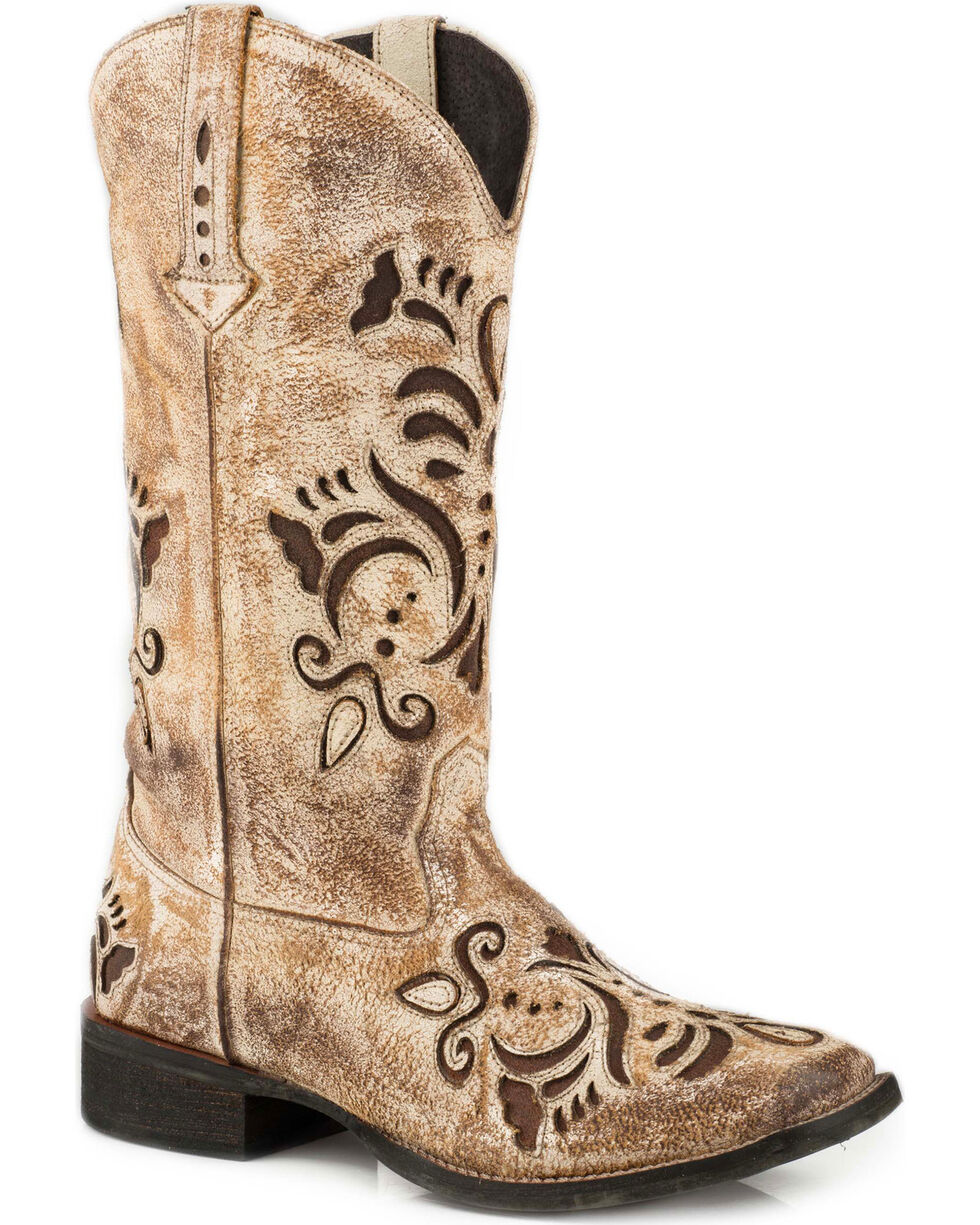 Roper Women's Belle Tan Antiqued Brushed Suede Cowgirl Boots - Square Toe, Tan, hi-res