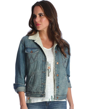 Wrangler Women's Indigo Sherpa Lined Denim Jacket , Indigo, hi-res