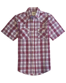 Ely Walker Men's Assorted Multi Small Plaid Short Sleeve Snap Western Shirt - Tall, Burgundy, hi-res