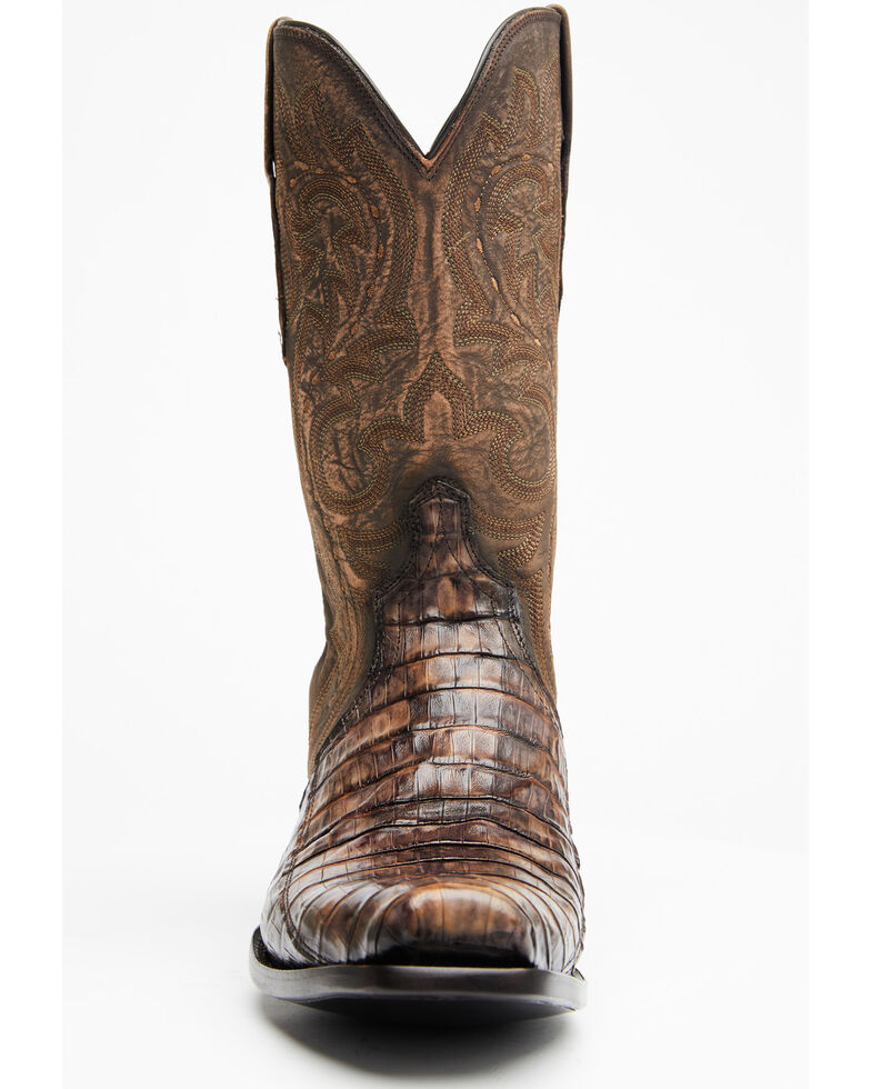 Lucchese Men's Handmade Maple Dwight Caiman Cowboy Boots - Square Toe  , Light Brown, hi-res