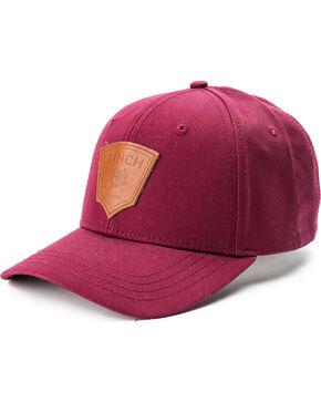 Cinch Men's Logo Patch Twill Trucker Cap, Burgundy, hi-res