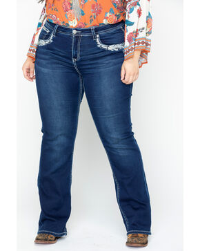 Grace In LA Women's Floral Boot Jean - Plus Size , Blue, hi-res