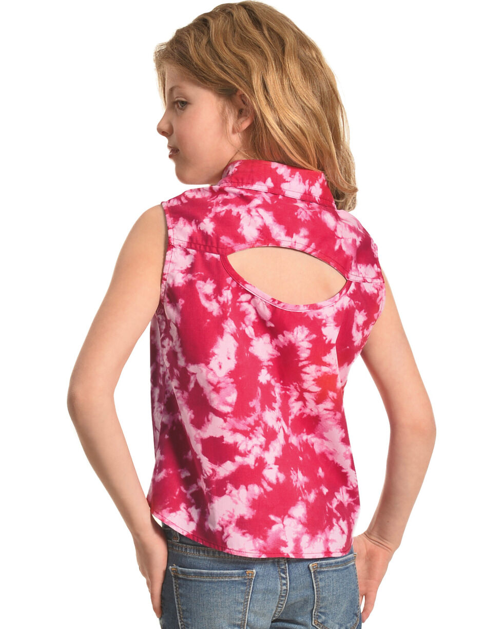 Shyanne Girls' Tie-Dye Sleeveless Shirt, Pink, hi-res
