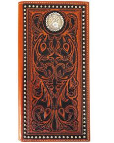 Roper Men's Leather Rodeo Tooled Wallet , Tan, hi-res