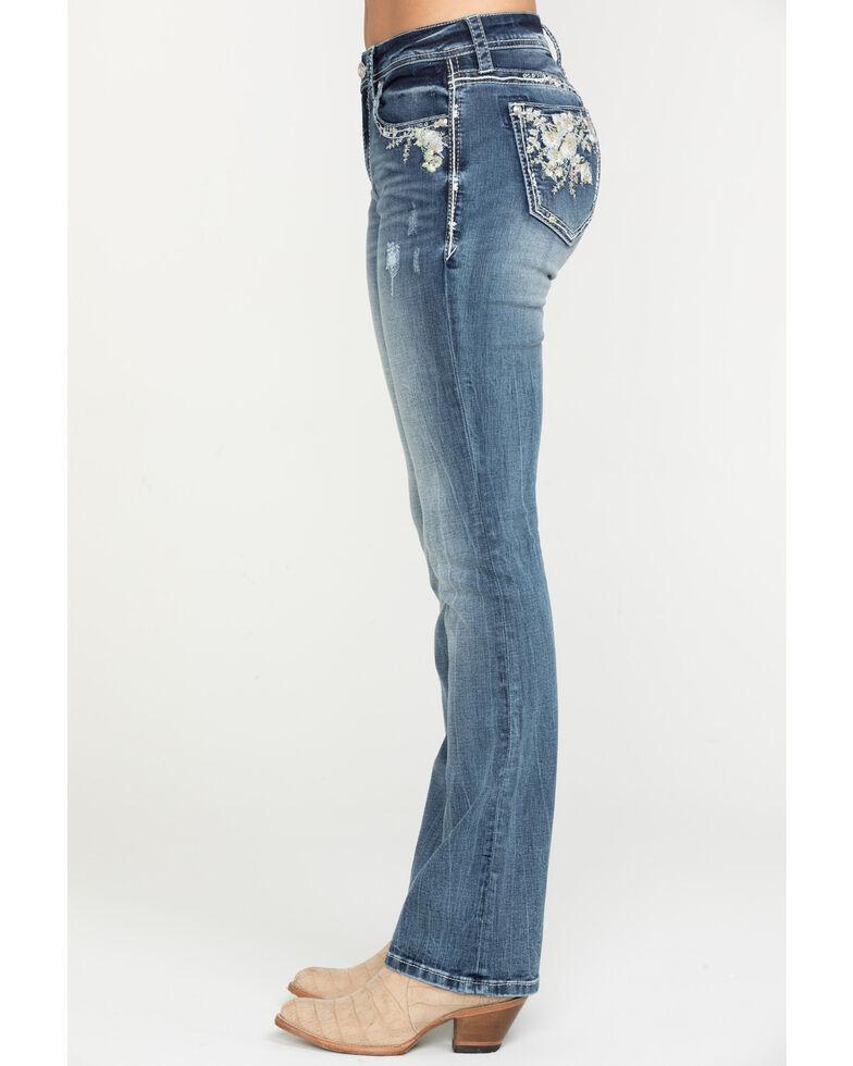 Grace in LA Women's Medium Mid-Rise Floral Bootcut Jeans, Blue, hi-res