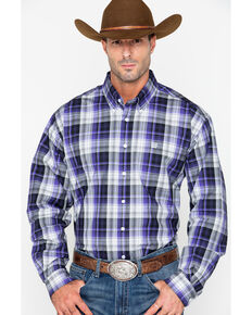 Cinch Men's Purple & Black Long Sleeve Western Shirt, Wine, hi-res