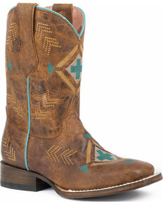 Roper Girls' Mai Native Embroidered Design Cowgirl Boots - Square Toe, Tan, hi-res