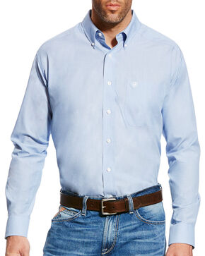 Ariat Men's Kenzie Faded Blue Wrinkle Free Long Sleeve Button Down Shirt, Blue, hi-res