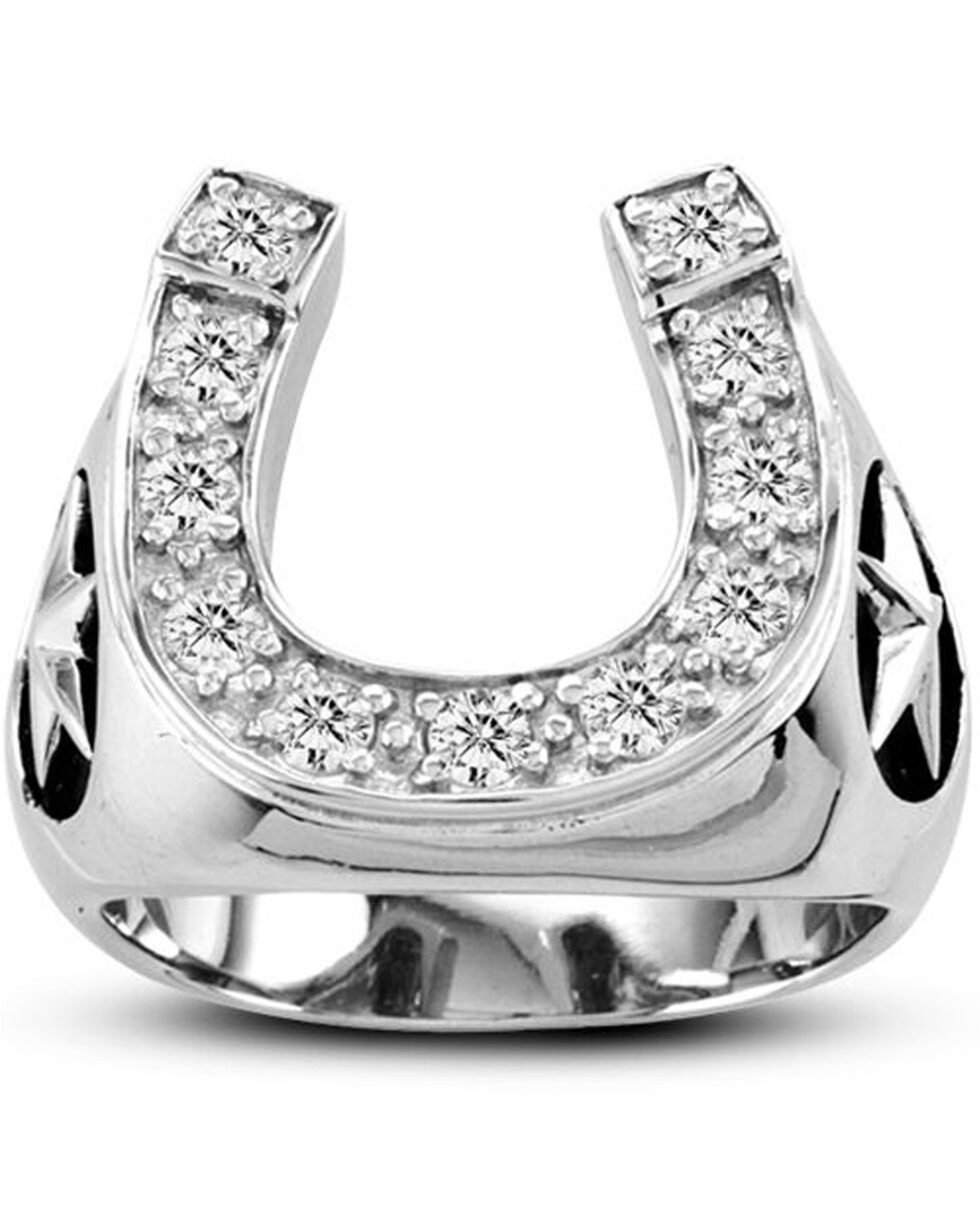 Kelly Herd Men's Silver Engraved Stars Horseshoe Ring , Silver, hi-res