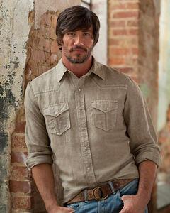 Ryan Michael Men's Tan Split Rail Seam Shirt , Tan, hi-res