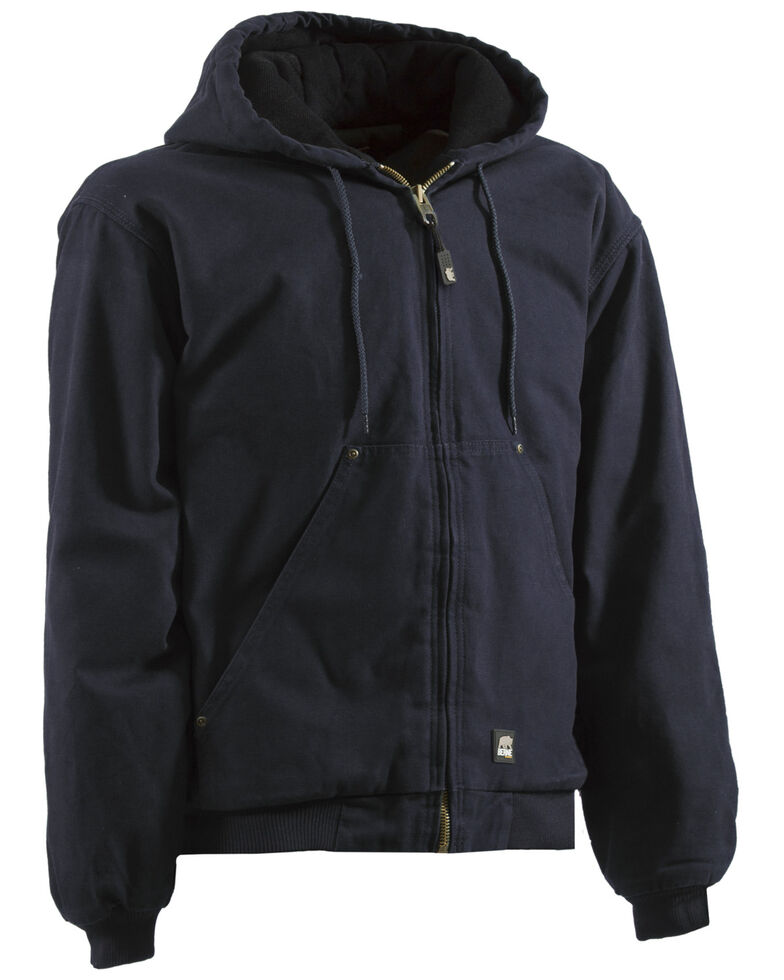 Berne Men's Original Washed Hooded Work Jacket - Quilt Lined - XLT and 2XT, Midnight, hi-res